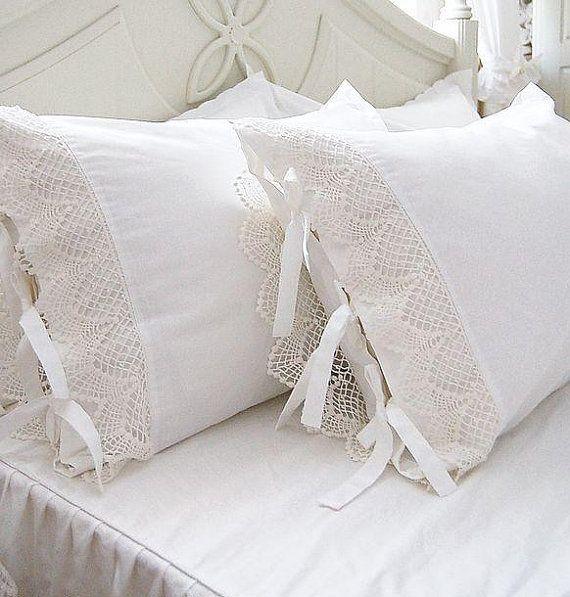 Delicadas puntillas para almohadones puntas y puntillas - Puntillas para sabanas ...