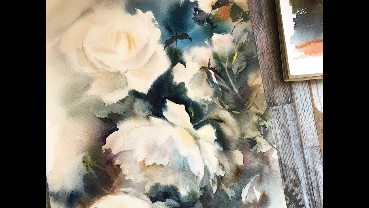 Watercolor Painting Demo Of White Roses By Canotstoppainting Time