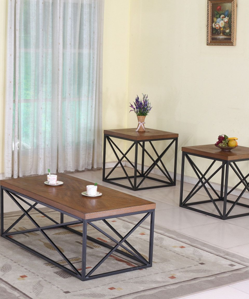 This Antique Bronze Cross-Beam Table Set by Baxton Studio is perfect! #zulilyfinds