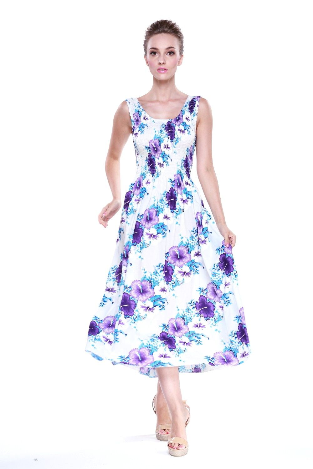 Maxi tank elastic dress in white with purple panel floral