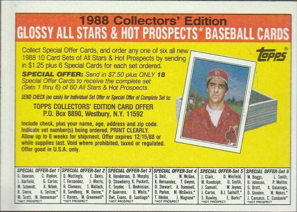 1988 topps baseball cards big special offer insert errors
