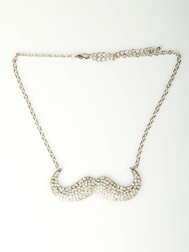 """Accessorize your outfit with style in this fashion necklace featuring a rhinestone mustache with lobster clasp closure. Hangs 8"""" long from lobster clasp with 4"""" extender. Imported. FINAL SALE, NON-RETURNABLE. @Stephanie Conard"""