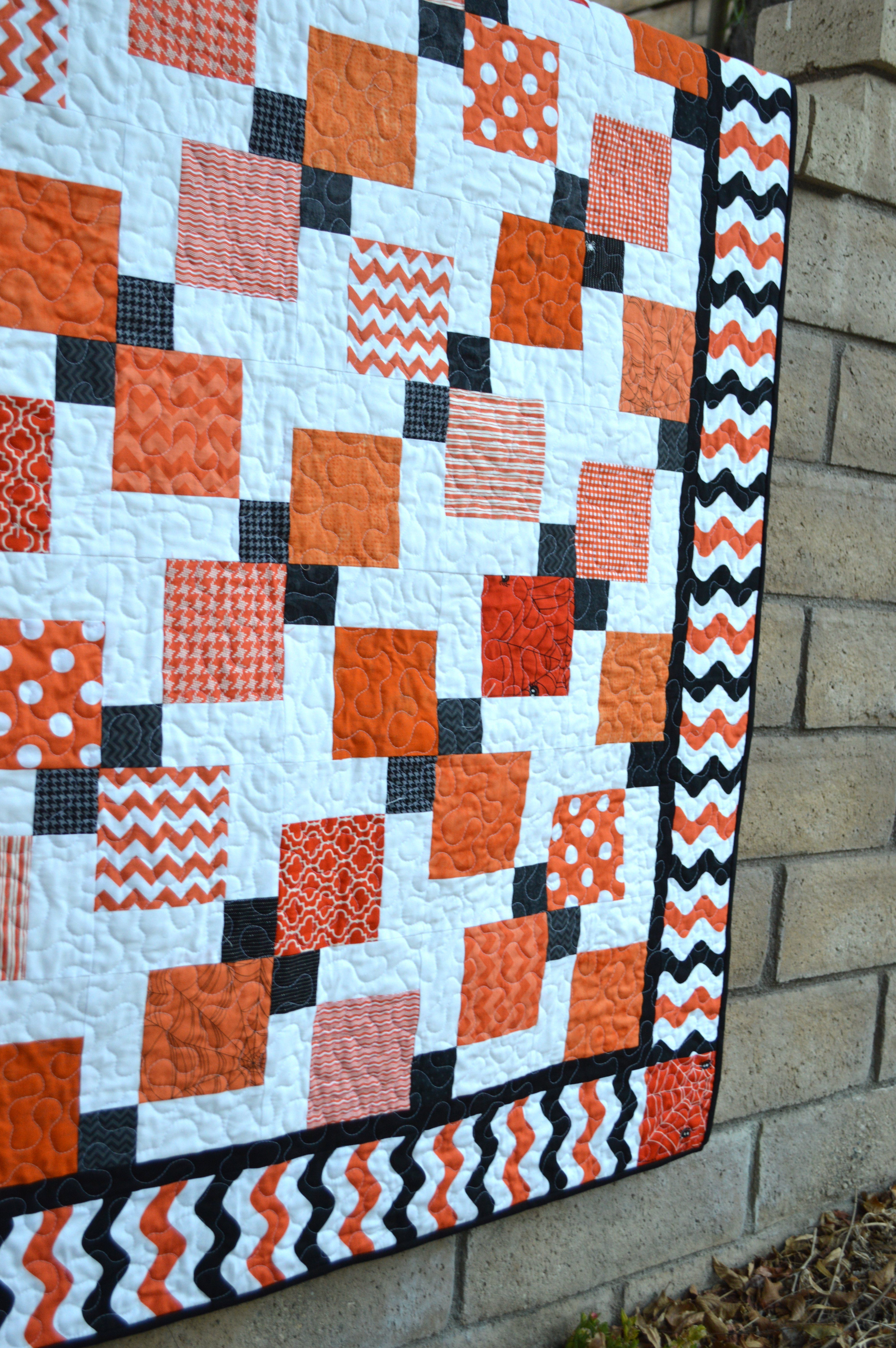 Disearing 9 Patch Quilt Tutorial By Jedi Craft Featuring Black Orange Wave Fabric From Riley Blake Designs
