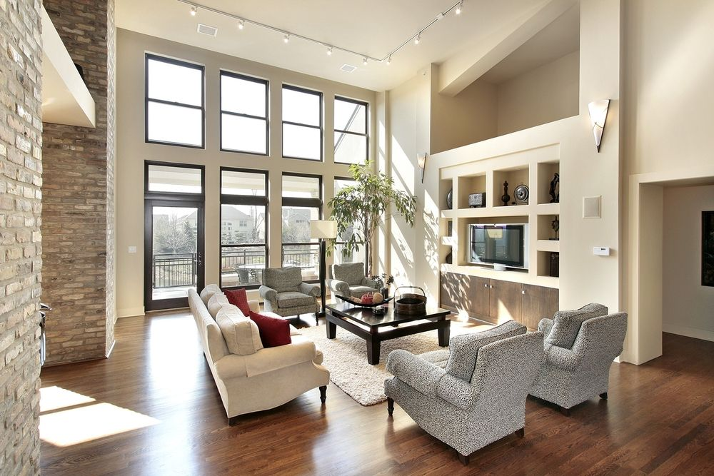 2 Story Great Room Decorating Ideas Part - 31: 2 Story Living Room With Large Window And Spacious Seating By June  Roesslein Interiors, St