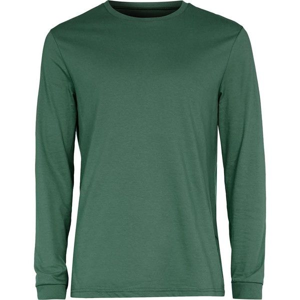 TOPMAN Green Long Sleeve Slim Fit T-Shirt ($17) ❤ liked on Polyvore featuring men's fashion, men's clothing, men's shirts, men's t-shirts, mens longsleeve shirts, mens slim fit t shirts, mens long sleeve shirts, mens green shirt and mens crew neck t shirts