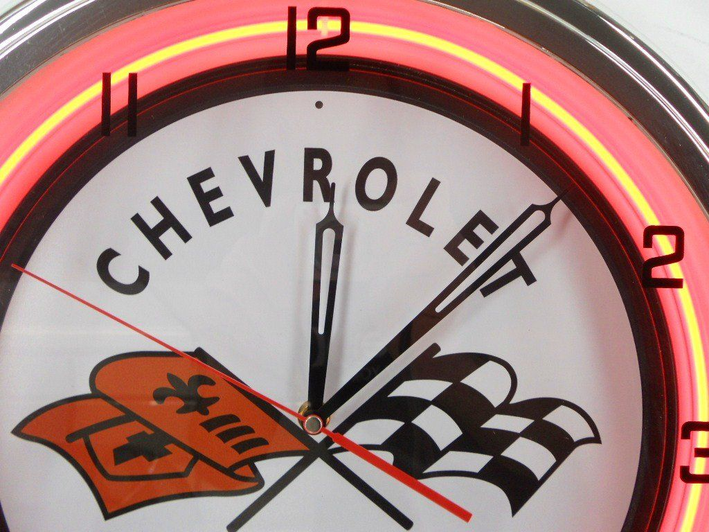 Chevy Corvette Flags 15 Neon Lighted Wall Clock Sign Orange Find Out More About The Great Product At The Image Link This Wall Clock Light Clock Wall Clock
