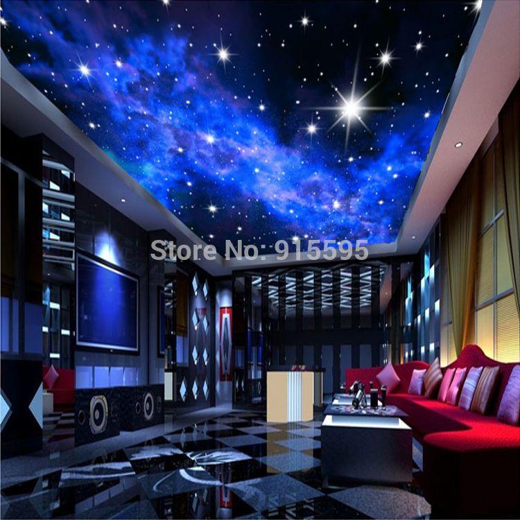 Wallpaper 3D Mural Night Clouds Star Sky Wall Paper