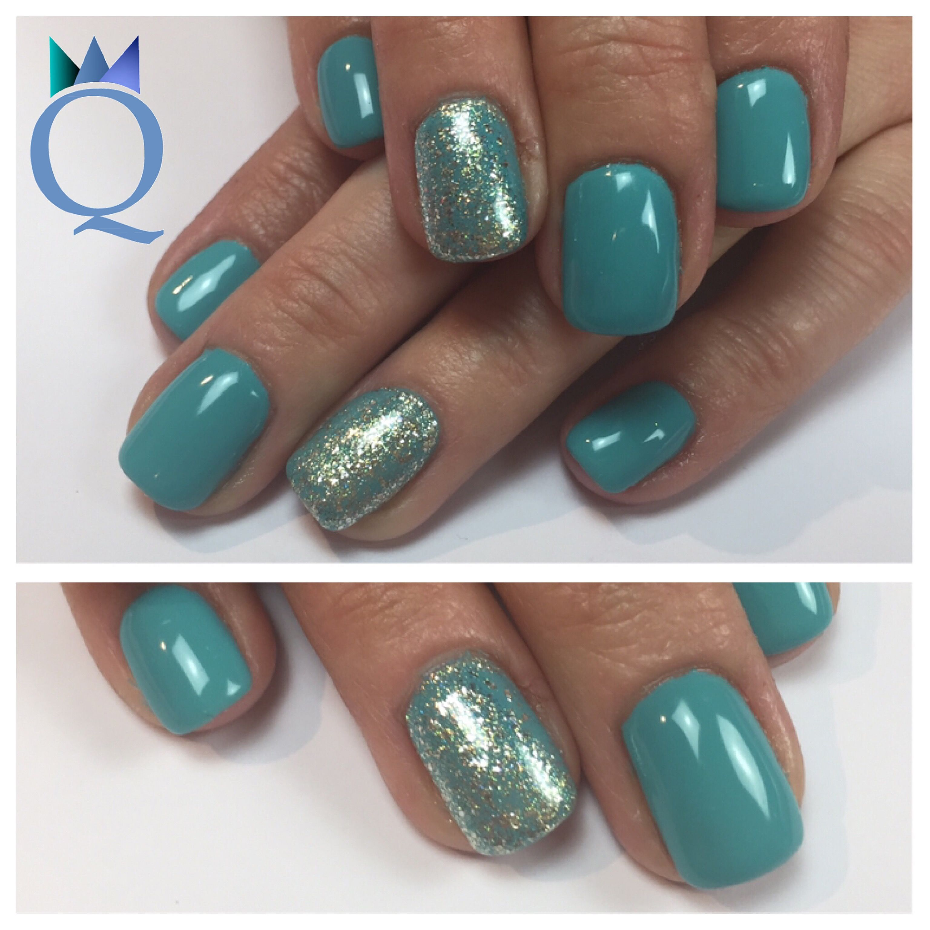 shortnails #gelnails #nails #turquoise #akyado #silver #glitter ...