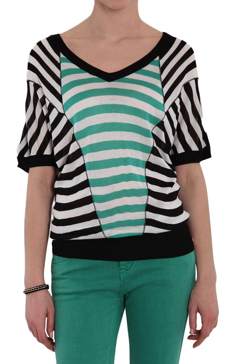 Venda Morgan / 9430 / Camisolas e Casacos / Camisola Preto, Branco e Verde. 12€
