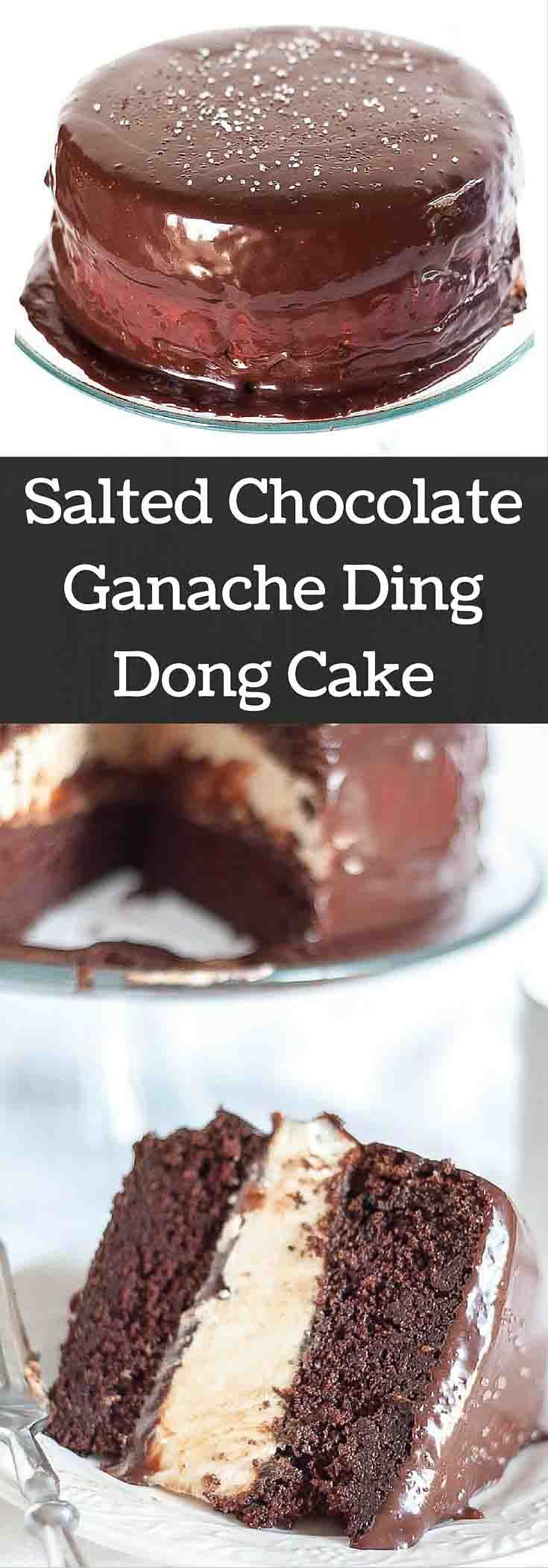 This Salted Chocolate Ganache Ding Dong Cake recipe will make you weep with tears of bliss. It is a moist chocolate cake, fluffy Ho Ho filling, and ganache drizzled all over. http://www.mamagourmand.com