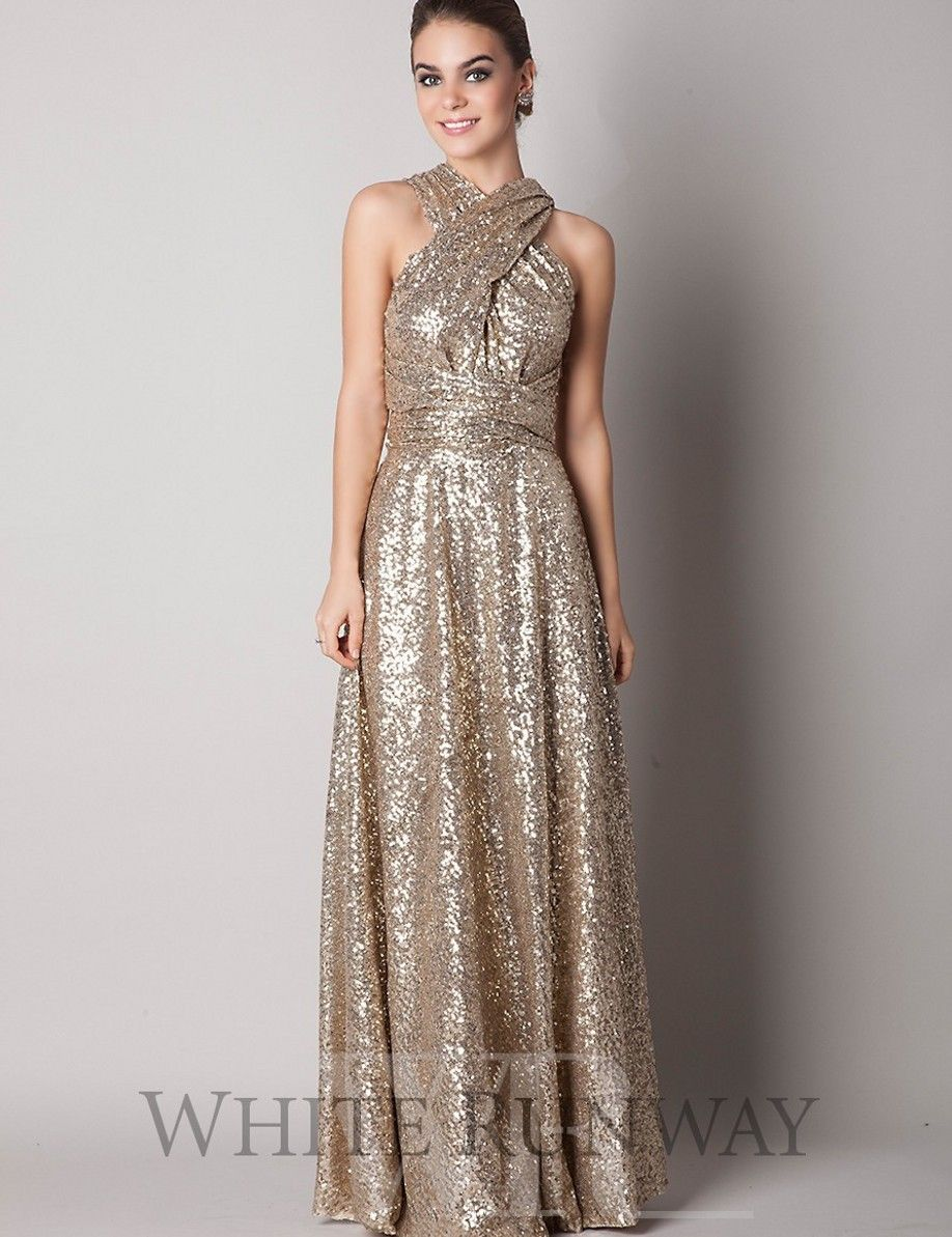 2014 Hot Rose Gold Bridesmaid Dress High Neck Corset Back Bling ...