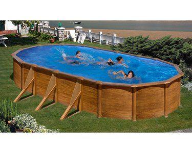 PoolSet Holz Dekor Ravenna Aufstellbecken Oval 610 cm x