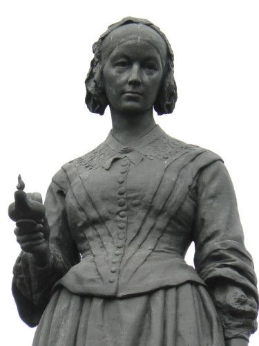 Florence Nightingale shown as a nurse in Crimea with her famous lamp. The statue stands on Waterloo Place, and is by Arthur George Walker.