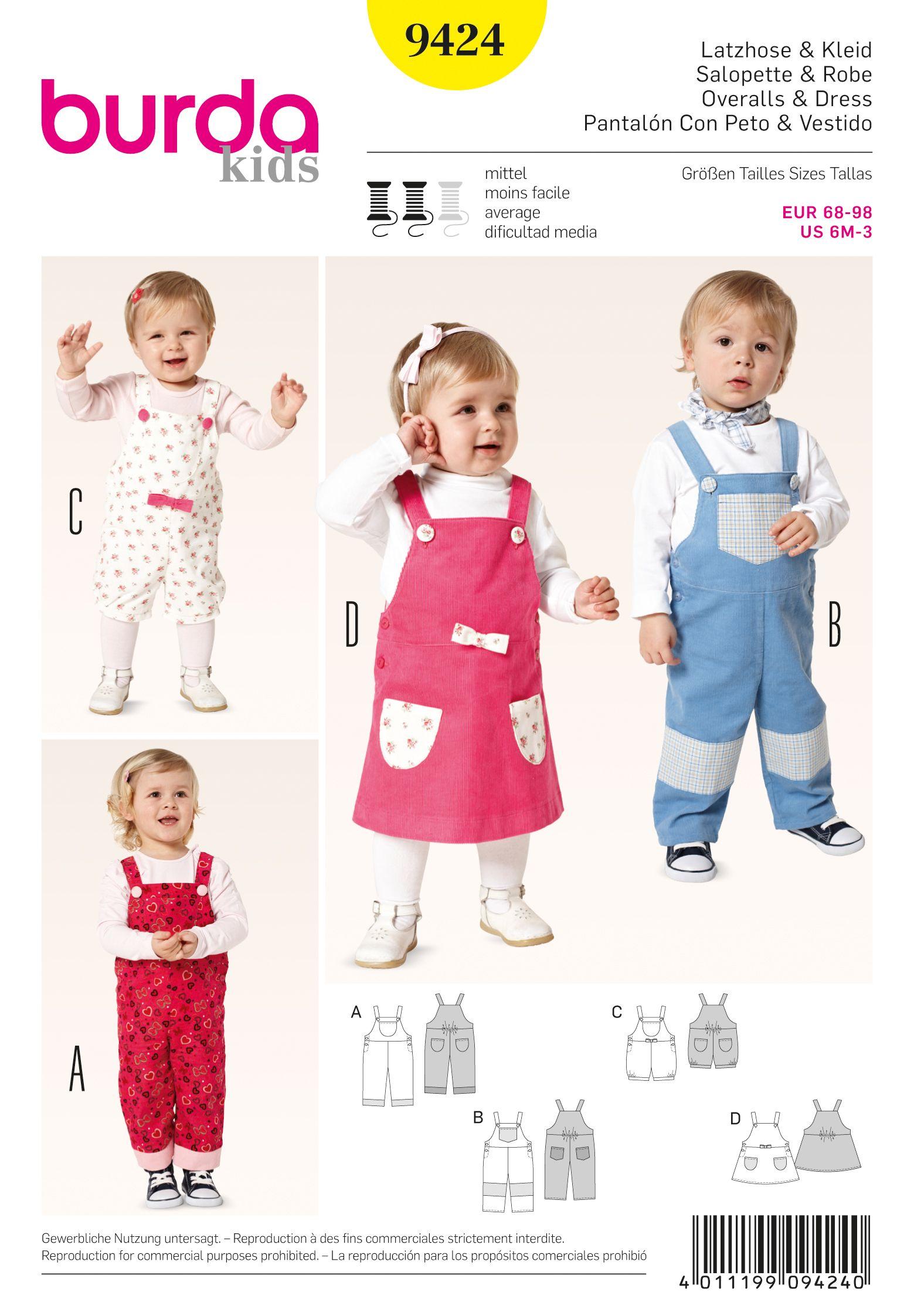 Burda 9424 Toddlers | Sewing patterns | Pinterest | Costura, Moda ...