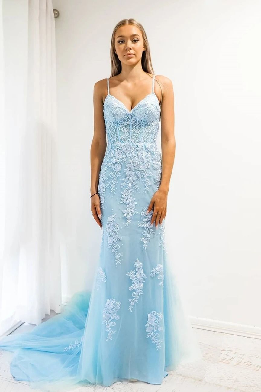 Baby blue mermaid spaghetti strap prom dress with lace in