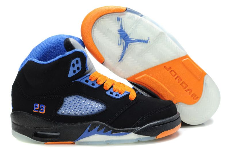 38c69af100d Big Kids Jordan Shoes Kids Air Jordan 5 Retro Suede Black Blue Orange  Kids  Air Jordan 5 - Kids Air Jordan 5 Retro Suede Black Blue Orange features an  ...