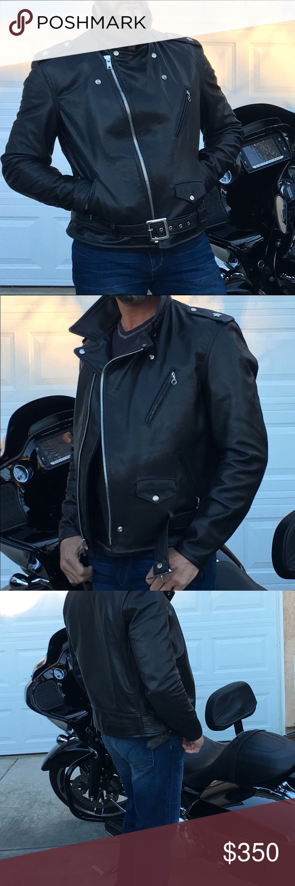 (sold) men's leather motorcycle jacket Leather