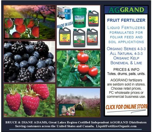 Our banner for fruit fertilizer - images are orchards, raspberries