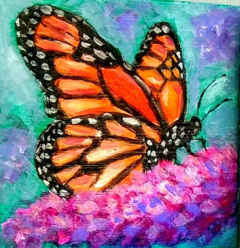 Yvette Andino Art Original Oil Painting Butterfly 6x6x1 5 Block
