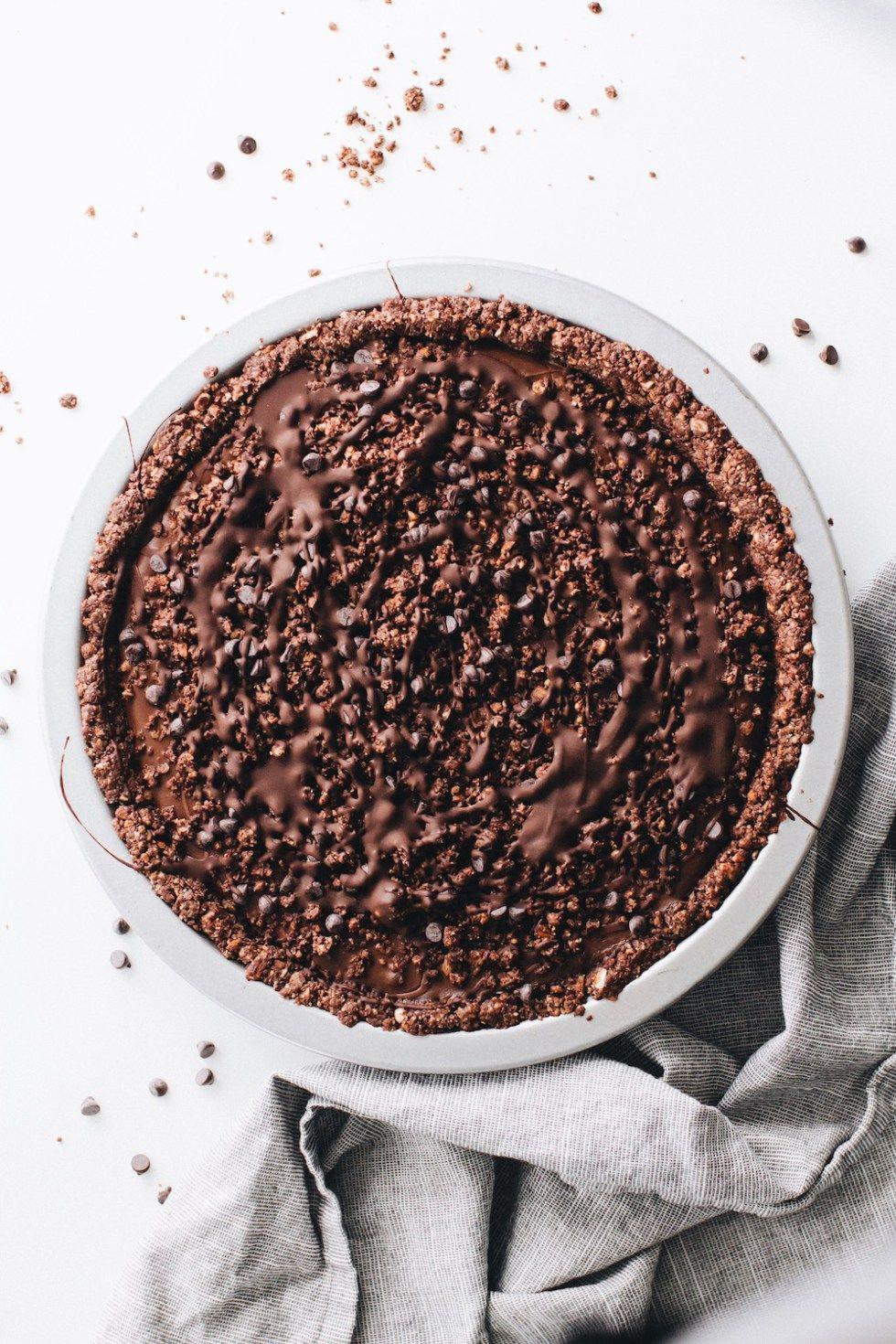 No-Bake Vegan Chocolate Cream Pie #sugarcreampie