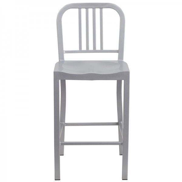 Style Modern Metal Counter Stool In Silver Color Scb805s