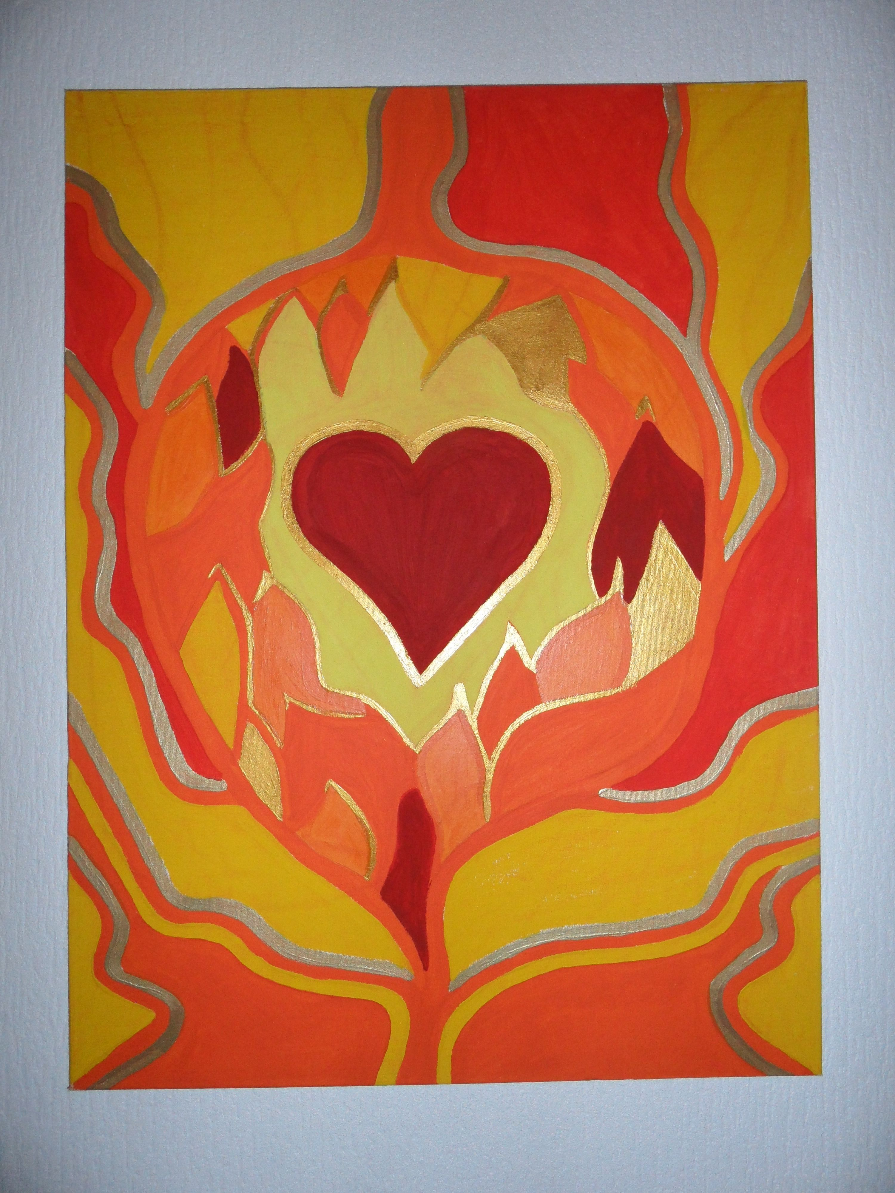 Paintings heart on canvas rare photo