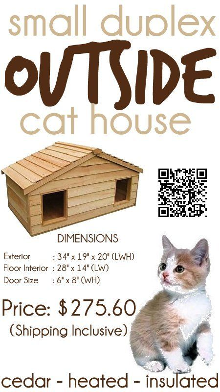 Small Duplex Insulated Cedar Outside Cat House Small Dog House