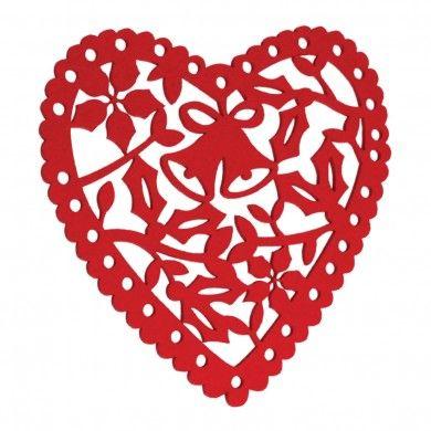 Red Christmas Heart Felt Placemat 1 95 Christmas Hearts Heart Decorations Felt Hearts