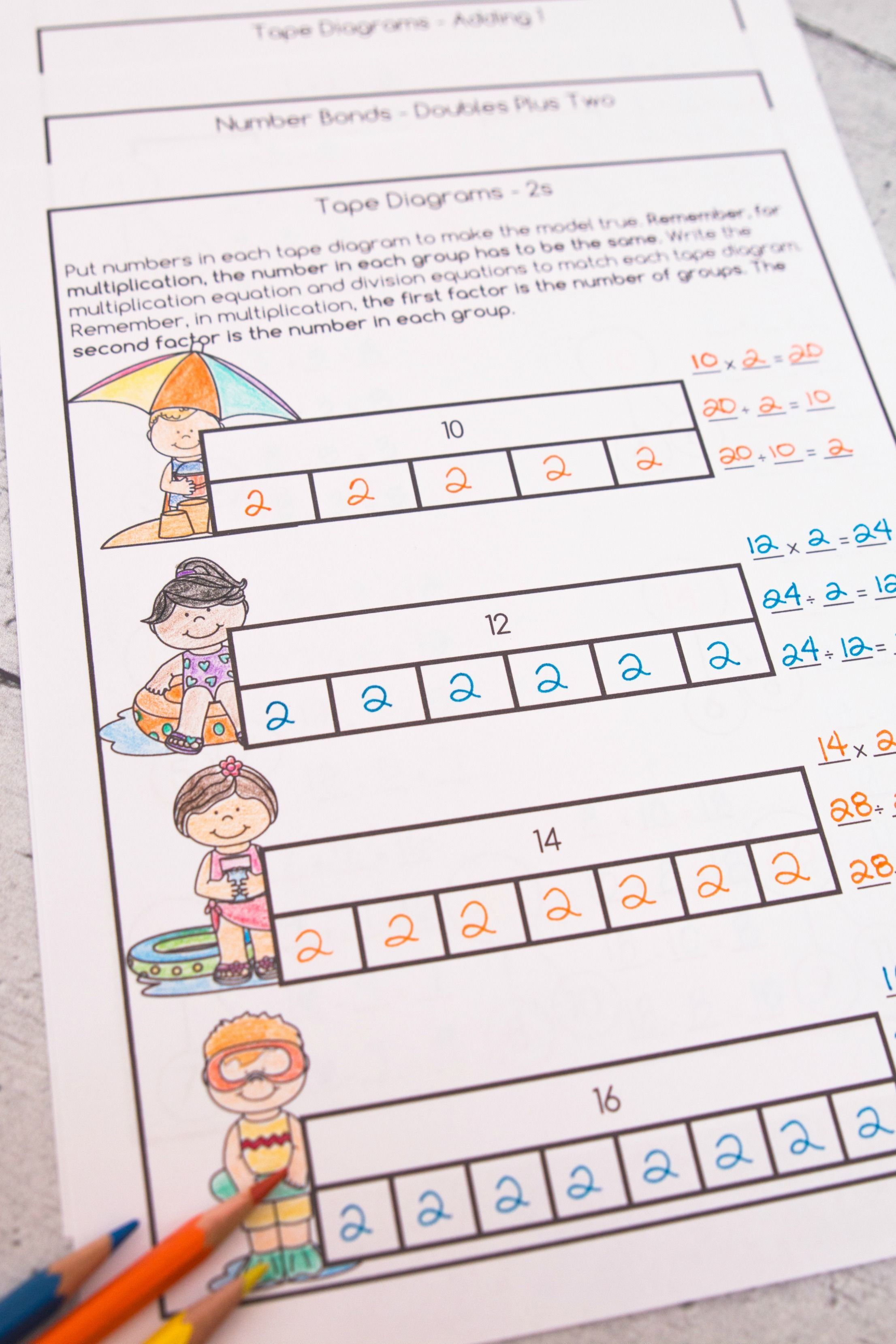 Multiplication and Division Math Facts Worksheets: Summer ...