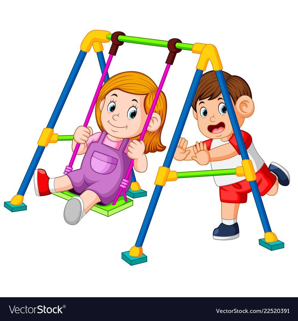 Children Have Fun Playing Swings Vector Image On Vectorstock Kids Clipart Children Happy Kids