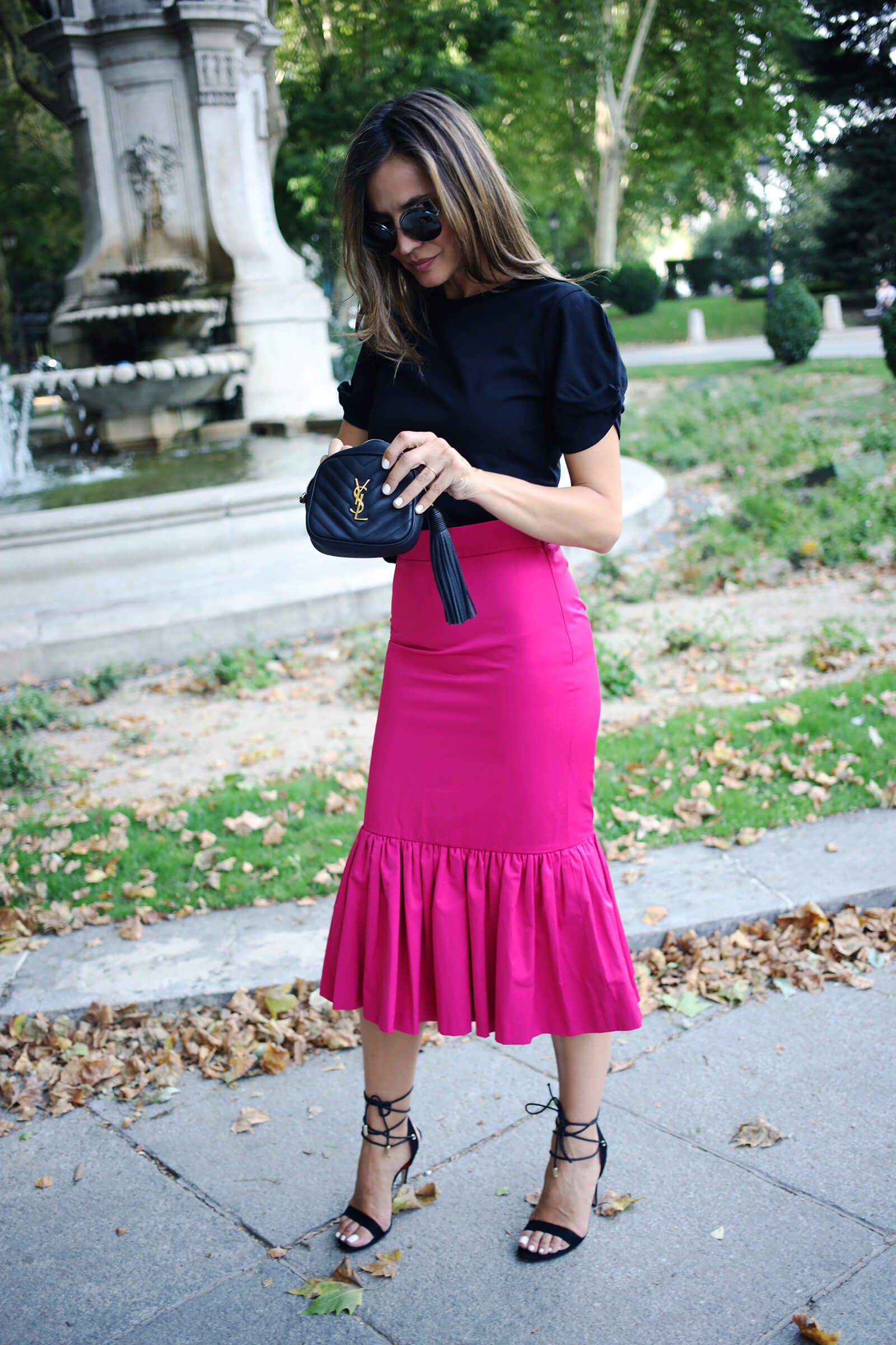 Combinada Falda Fucsia De Con Sandalias Negras Skirt TirasPencil Ifyv7b6Yg