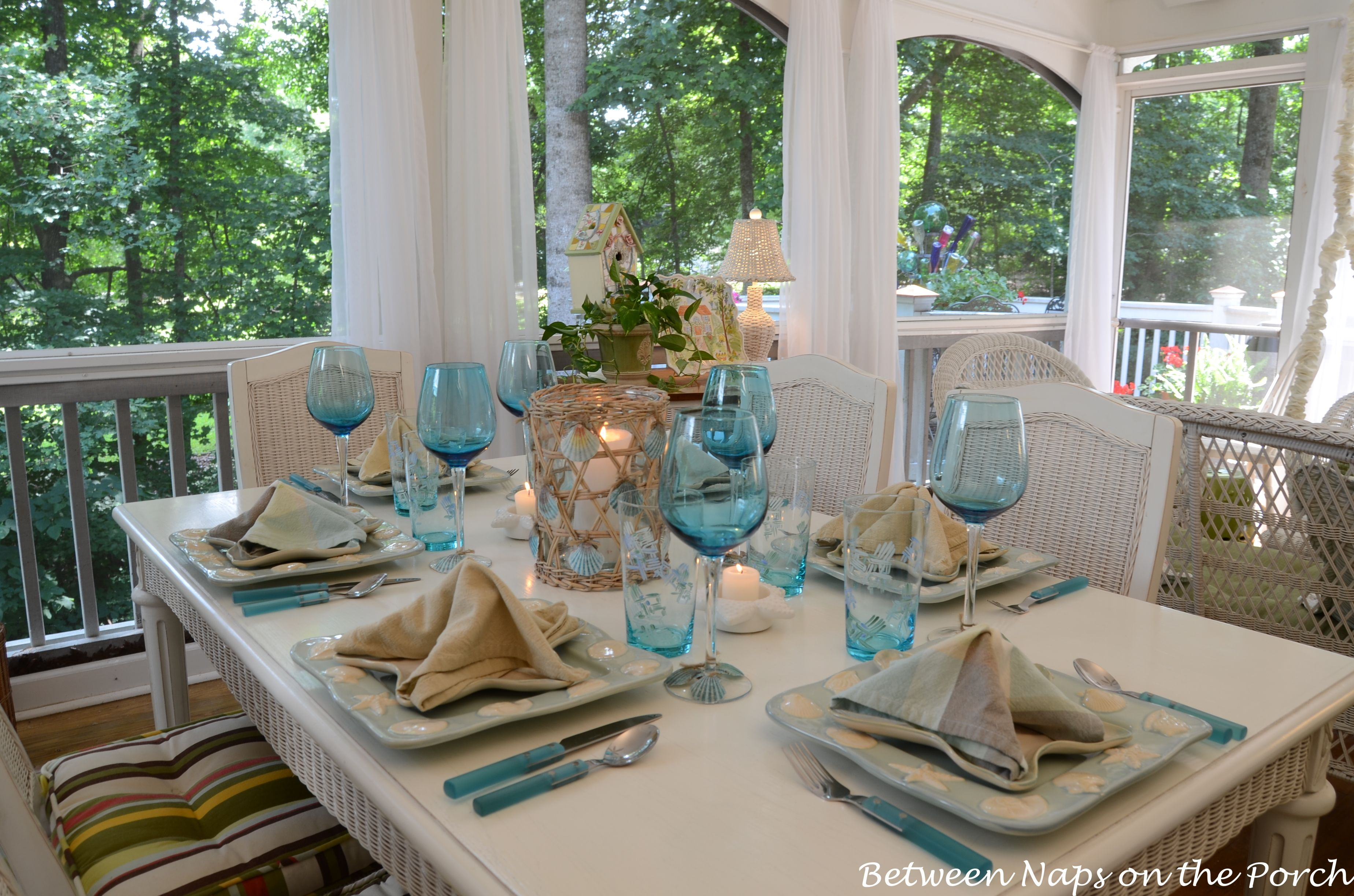A Beach Themed Table Setting With Images Beach Table Settings