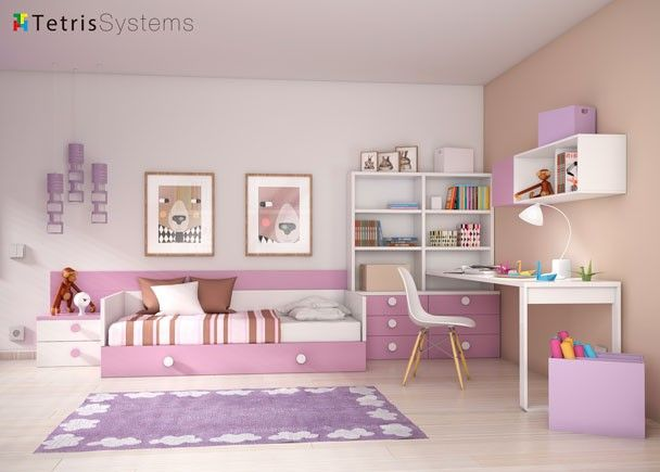 Dormitorio infantil con cama nido y escritorio mobiliario juvenil tonos rosas pinterest - Habitacion con cama nido ...