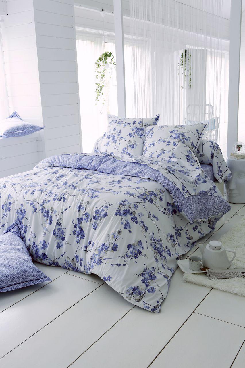 Housse De Couette Blossom Satin De Coton Motifs Fleurs Bleu Faience 240x220 Tradilinge Parure De Lit Housse De Couette Parure Housse De Couette