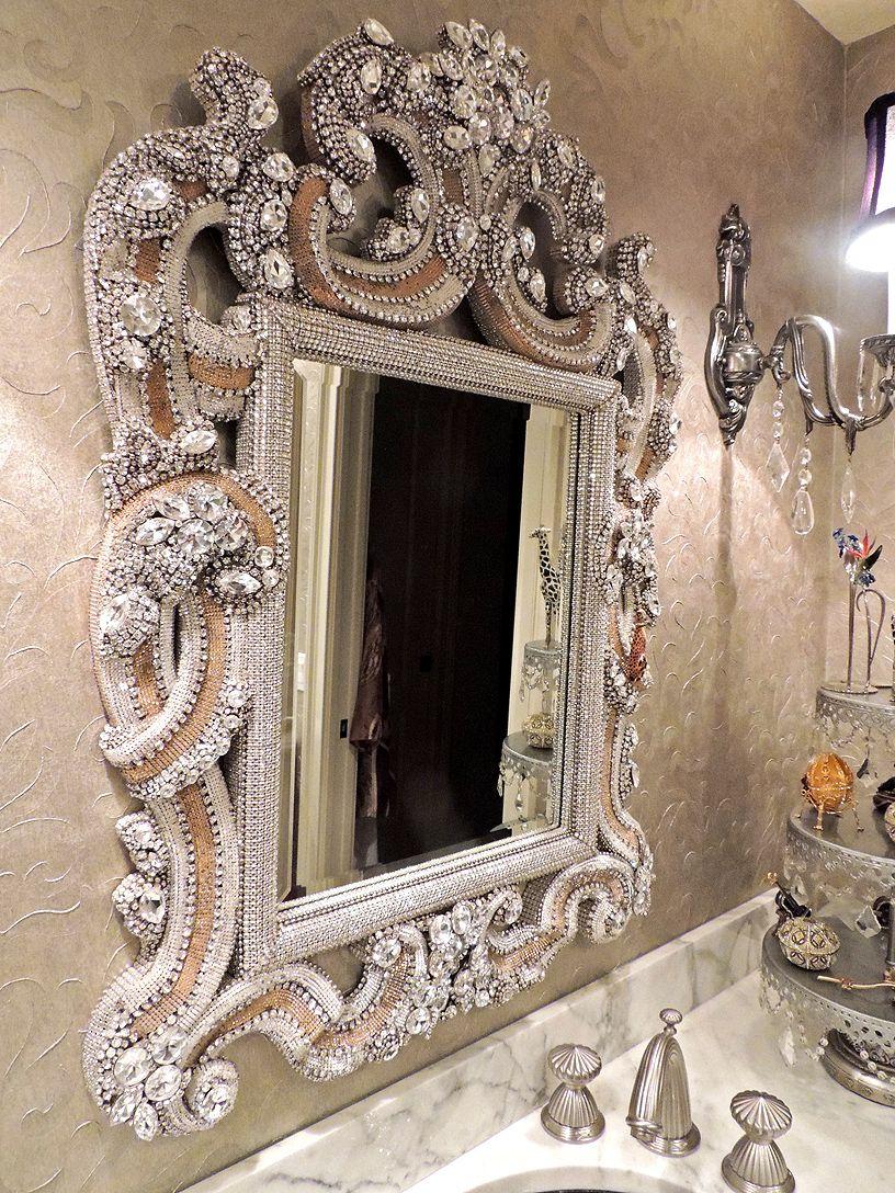 Rhinestone Wall Mirror awesome swarovski and vintage jewellery mirrordouglas cloutier