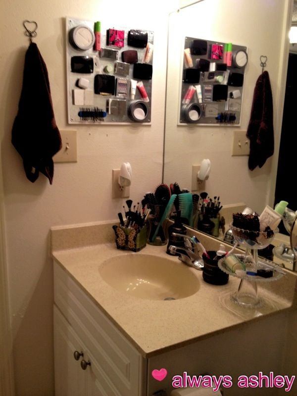 Make a magnetic makeup board for your bathroom! http://alwaysashley.com/2012/06/14/the-big-bathroom-reveal/