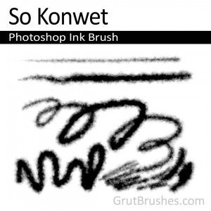 """""""So Konwet"""" - Photoshop Ink Brush    A runny ink brush with an edge that bleeds as if you are drawing on a wet paper towel. A variable sized allows you to do fairly detailed work at low pressure but the brush really excels at broad gestural drawing."""