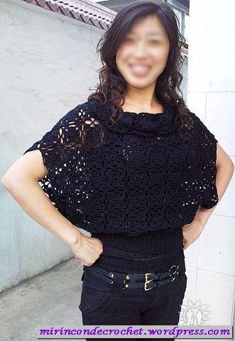 Blusa Amplia Con Cuello Volcado Y Cinturadivina Crochet And