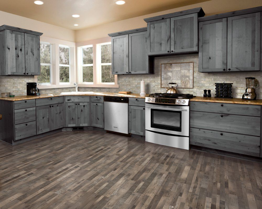 7 5 X 47 25 X 0 3mm Pine Laminate Flooring In Weathered Gray Rustic Kitchen Kitchen Remodel Kitchen Cabinets