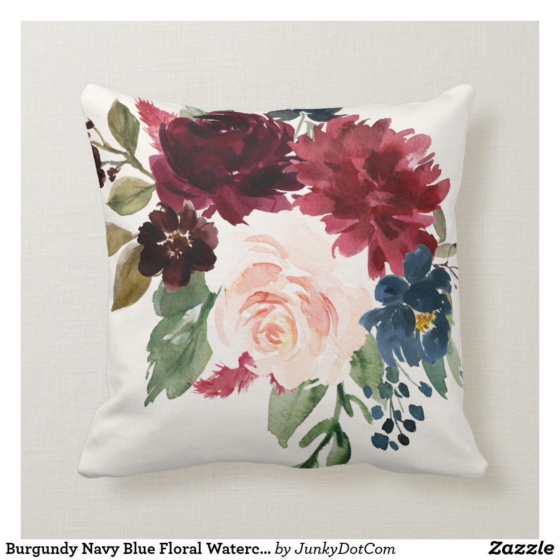 Burgundy Navy Blue Floral Watercolor Bouquet Throw Pillow Floral Bedroom Throw Pillows Watercolor Pillows Floral