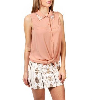 Peach Sleeveless  Embellished Collar Top