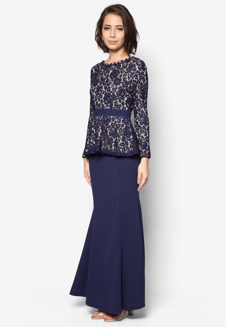Buy VERCATO Hannah Lace Peplum Kurung Online | ZALORA Malaysia