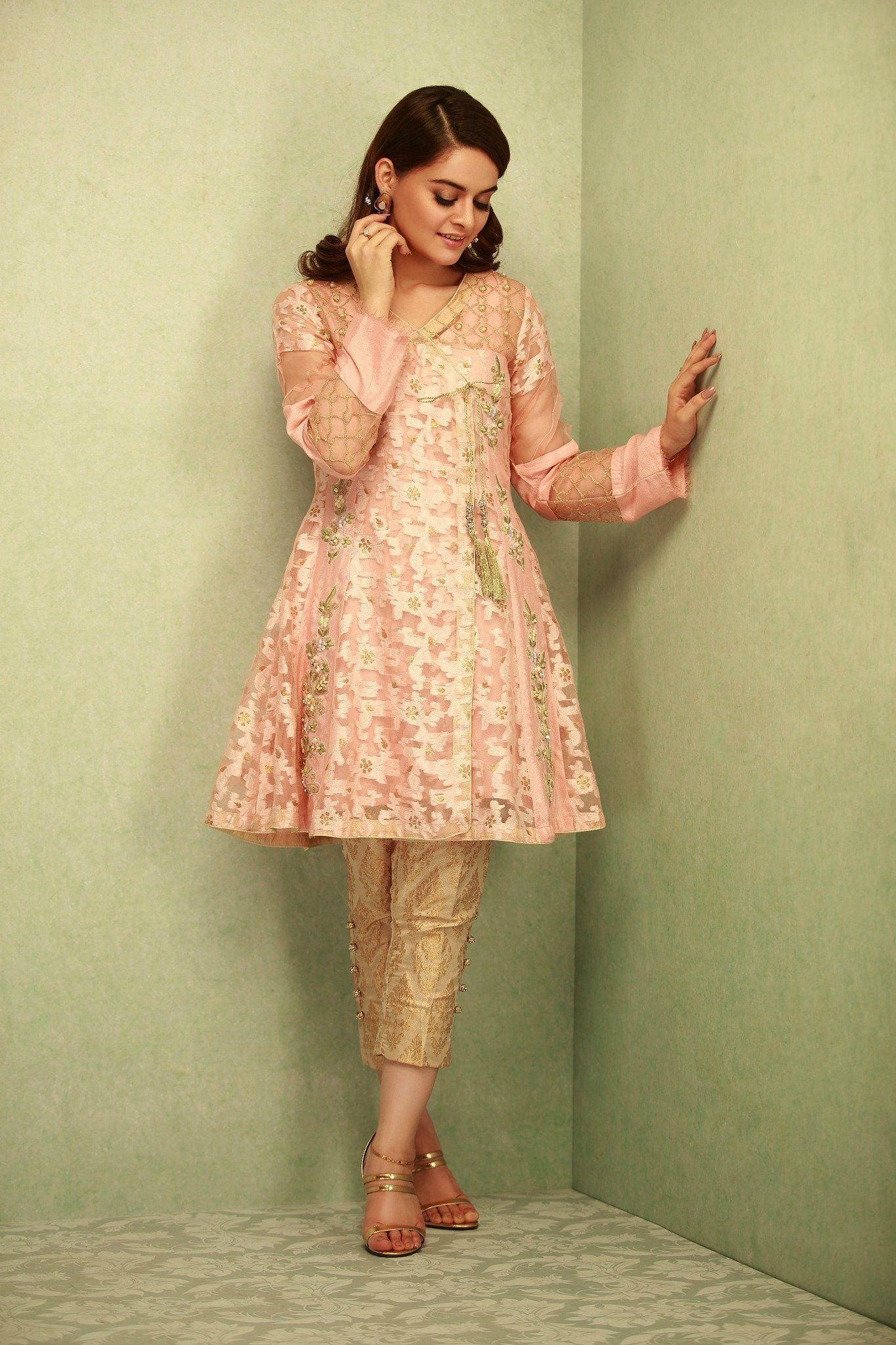 ba9582004b Peach Pink 3 Piece Stitched Organza Pakistani Ready to Wear Pret Dresses  Online Available For Shopping