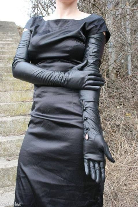 Ladies long black dress gloves