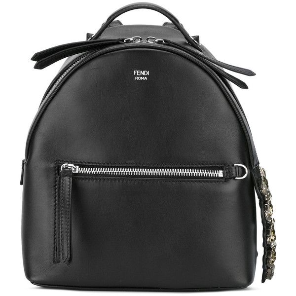 Fendi - embellished backpack - women - Calf Leather - One Size (£1,840) ❤ liked on Polyvore featuring bags, backpacks, black, backpack bags, day pack backpack, fendi bags, fendi and rucksack bags