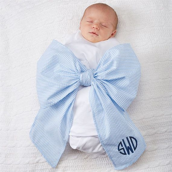 How To Swaddle A Baby With A Blanket Magnificent Monogrammed Swaddle Blanket Swaddle Bow Newborn Photos Seersucker Design Ideas