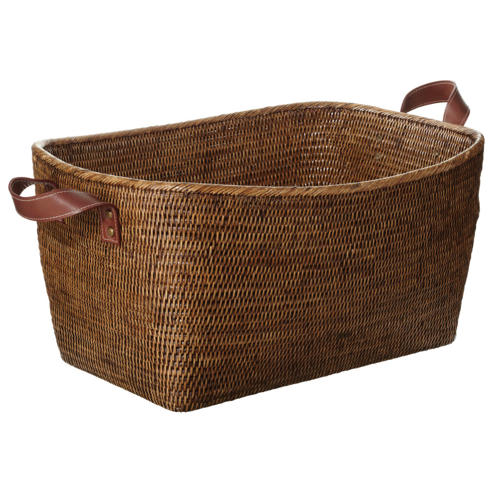 Large Fairfax Rattan Basket Brown Rattan Basket Rattan Basket