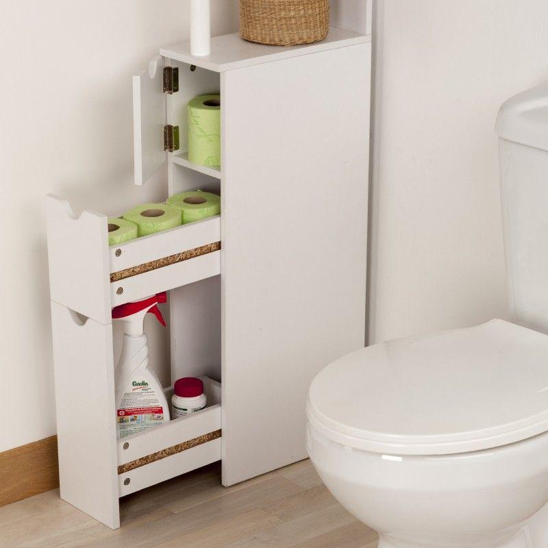 Meuble de rangement wc toilettes ou salle de bains blanc - Meuble rangement papier toilette ...