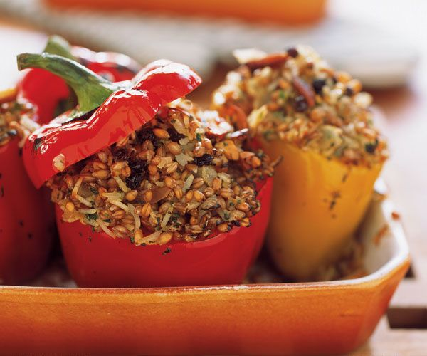 Wheatberries with Fragrant Spices, Currants & Almonds Recipe. Don't stuff this in bell peppers (bleh)--stuff an acorn squash instead, I think it would be great!