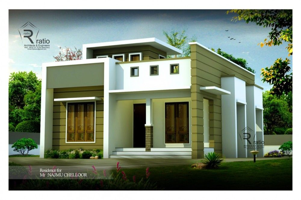 750 Sq Ft 2 Bedroom Contemporary Home Design House Roof Design Contemporary House Design Small House Design Exterior Small house plan kerala 750 sq